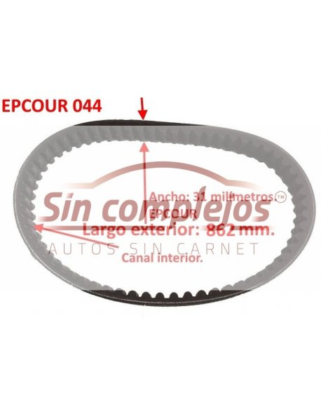 Largo: 862 mm. Ancho: 31 mm. EPCOUR 044.