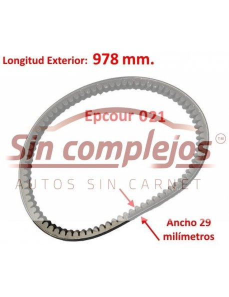 Largo: 978 mm. Ancho: 29 mm. EPCOUR 021.