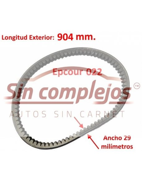 Largo: 904 mm. Ancho: 29 mm. EPCOUR 022.