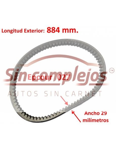 Largo: 884 mm. Ancho: 29 mm. EPCOUR 027.