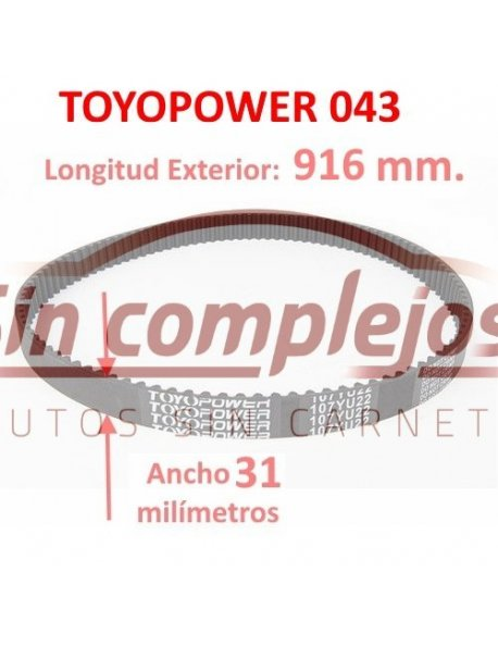 Largo: 916 mm. Ancho: 31 mm. TOYOPOWER.