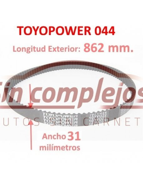 Largo: 862 mm. Ancho: 31 mm. TOYOPOWER 044.